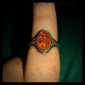 Jewelry - Genuine Amber and Sterling Silver ring